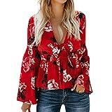 TianWlio Langarmshirt Damen T-Shirt Damen Langarmshirt Damen Blumenmuster T-Shirt Lange Ärmel Tops V-Ausschnitt Oberteile Hemd Aufflackern-Hülse Bluse Tops