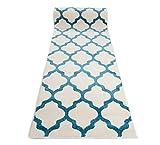 WE LOVE RUGS CARPETO Läufer Teppich Brücke Teppichläufer - Orientalisches Marokkanische - Flur Modern Designer Muster Meterware - Casablanca Kollektion von Carpeto - Weiß Türkis Blau - 70 x 125 cm