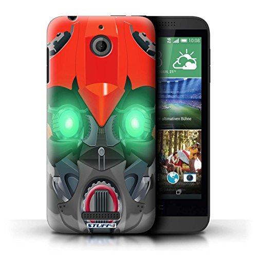 Kobalt® Imprimé Etui / Coque pour HTC Desire 510 / Opta-Bot Jaune conception / Série Robots Bumble-Bot Rouge