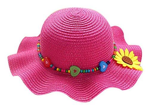Kinder Strand Hut Hübsches kleines Mädchen Curling Schatten Strohhut Rose Red Sonnenblume