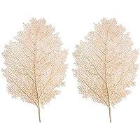 VOSAREA 2pcs manteles Individuales de Navidad manteles Individuales en Forma de Hoja Dorada manteles Resistentes al Calor 57x36cm