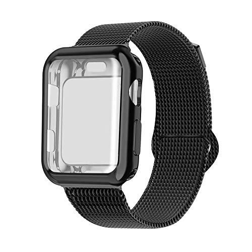 INZAKI Kompatibel für Apple Watch Armband mit Hülle 42mm, Edelstahl Netz Milanese Schlaufen Armband mit Displayschutz Schlankes case für iWatch Series 3/2 / 1, Sport, Edition,Schwarz
