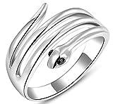 Vergoldet Damen Ringe ?sterreichische Kristall Schlange Form Gr??e 54 (17.2) Wei? Gold Epinki