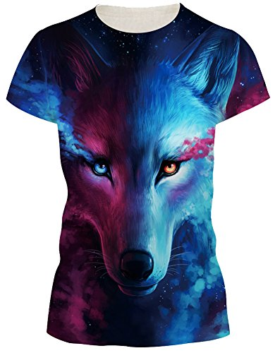 EmilyLe Damen Bunt Druck Shirt Bluse Kurzarm Design Tops Hemd Sommer Beiläufige Kurz Hülsen T-Shirts bunte Fuchs