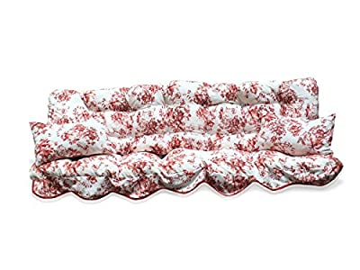 Polterauflage weiß rote Blumen Hollywoodschaukel, Auflage, Hollywood, Sitzauflage, Gartenschaukelauflage von Kühnemuth - Gartenmöbel von Du und Dein Garten