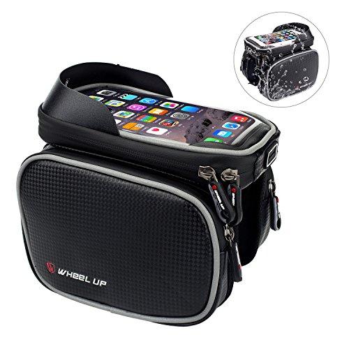 Fahrradtasche Rahmentaschen von EKOOS, Wasserdichte Fahrradtasche mit TPU Sensible Touchscreen Frarradschnalletasche mit zwei Fäche für iPhone Samsung bis zu 6 Zoll
