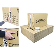 20 Strong Large Cardboard Storage Packing Moving House Boxes Double Walled with Fragile Tape and Black Marker Pen 18.8'' x 12.8'' x 10.4''