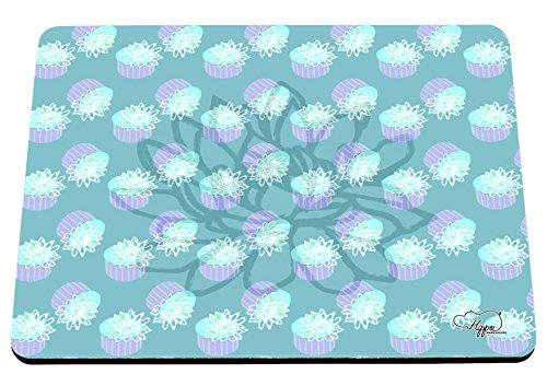 etopfte Lotus Flower Muster bedruckt Mauspad Zubehör Schwarz Gummi Boden 240mm x 190mm x 60mm, aqua, Einheitsgröße (Zauber-gypsy)