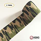 JCHENG-SECURITY-Protective-Camouflage-Wrap-Camouflage-Tape-Multi-Use-Tactical-Camo-Form-2-x-212-3-rolls-Land-Green