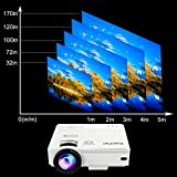 XuanPad Mini Projector 2400 Lumens Portable video-projector,55000 Hours Multimedia Home Theater movie Projector,Compatible with Amazon Fire TV Stick,1080P HDMI,VGA,USB