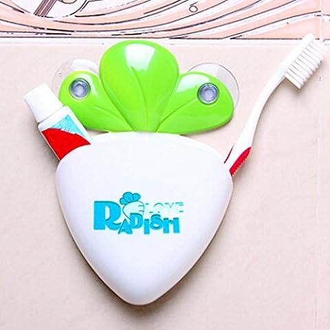 Transer® Karikatur Karotten Badezimmer Set, niedlich Zahnbürste Zahnpasta Halter Sauger Haken (Stapelbare Teile)