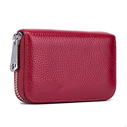 RFID Blocking Leather Wallet for Women,Excellent Women's Genuine Leather Credit Card Holder Ladies Small Blocked Accordion Wallets with Stainless Steel Zipper Compact Accordian ID Cards Bag Wine Red