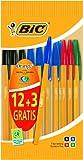 BIC Crystal Orange Kugelschreiber, F-Spitze, farblich sortiert, 15 Stück