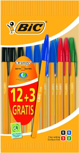 bic-crystal-orange-fine-ball-pens-assorted-value-pack-of-12-plus-3-free