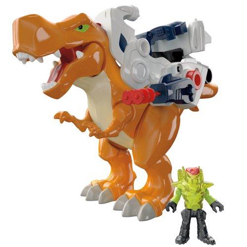 Fisher-Price - BFT46 - Imaginext - Dinosaurier - Deluxe T-Rex inkl. Rüstung und Reiter - mit coolen Soundeffekten (Fisher Price Imaginext Dinosaurier)