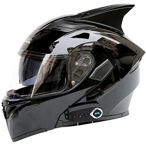 Casco moto Bluetooth, Bluetooth integrato modulare anti-nebbia doppia lente casco Bluetooth design integrato casco Bluetooth (dimensioni : L.)