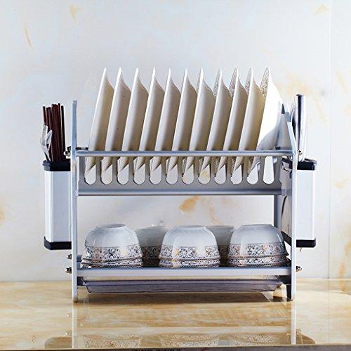 BOBE SHOP- Étagère multifonctionnelle de cuisine - espace de doubles couches Étagère en aluminium de plat / étagère de drain / plat de support / support de fourchette de couteau / étagère de baguette / étagère de cuvette ( taille : #1-with Knife and Chopsticks shelf )