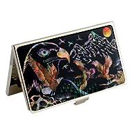 Mère de perle motif aigle américain en métal noir en acier inoxydable gravé slim Business crédit Nom Porte Carte d'identité Argent Étui portefeuille