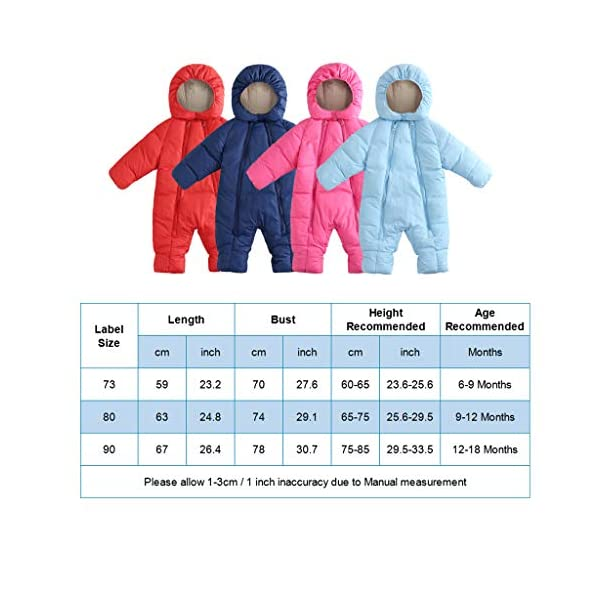 Bebé Traje de Nieve con Capucha Mameluco Infantil Cremallera Mono Invierno Peleles Impermeable para Niñas Niños Abrigo… 3