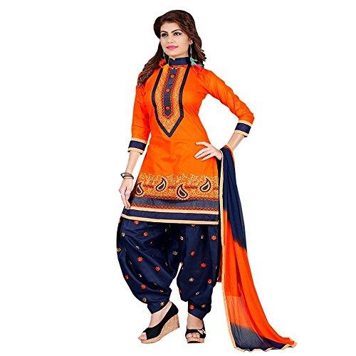 Siddeshwary Fab Orange And Blue Patiala Designer Salwar Suit Dress Material