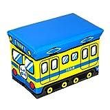 LEXPON Sitzhocker faltbare Spielzeugkiste Aufbewahrungsbox Kinderzimmer Schlafzimmer Spielzeugbox Zug (Gelb und Blau)