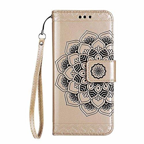 IPhone 5 / 5s / SE Mandala abnehmbare Portabilität Hülle [Mit freiem Schirm-Schutz], COOSTOREEU Multifunktions-2-in-1 Magnetische abtrennbare, abnehmbare PU-Leder-Etui MIT [Handschlaufe] Flip Cover mi gold