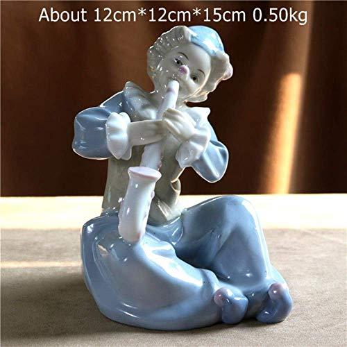 ERY Ornamente Statuen Dekorationen Figur Skulptur Keramik Saxophon Clown Miniatur Deko Porzellan Akkordeon Buffoon Figur Musik Fiesta Zirkusschmuck Aand Craft, Akkordeonspieler, M,Sa * Spieler