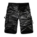 GreatestPAK Pants Cargo-Shorts der Tarnung-Männer beiläufige im Freien Taschen-Strand-Arbeits-Hosen-Hose,Schwarz,34