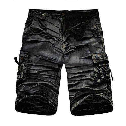 GreatestPAK Pants Cargo-Shorts der Tarnung-Männer beiläufige im Freien Taschen-Strand-Arbeits-Hosen-Hose,Schwarz,38 Playboy Shorts