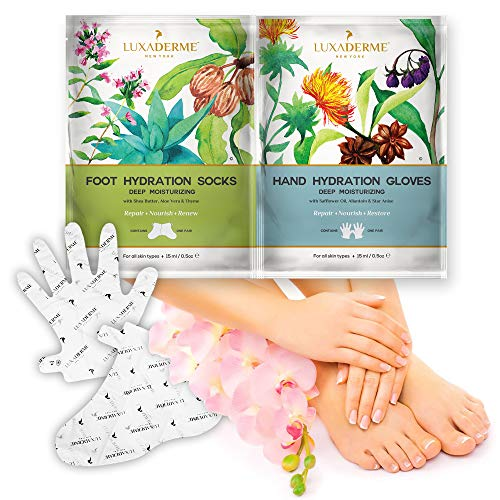 LuxaDerme Hand Hydration Gloves Deep Moisturizing Treatment, 15ml and Foot Hydration Socks Deep Moisturizing Treatment Combo Pack, 15ml