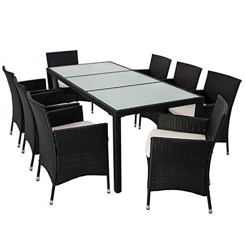 Polyrattan Essgruppe Rimini XL für 8 Personen mit Glas Tischplatten