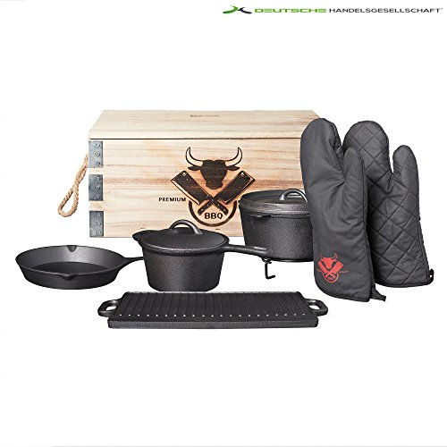 Dutch Oven 8 teilig Set Töpfe Topf Platte Pfanne Grillplatte Camping Kochtopfset