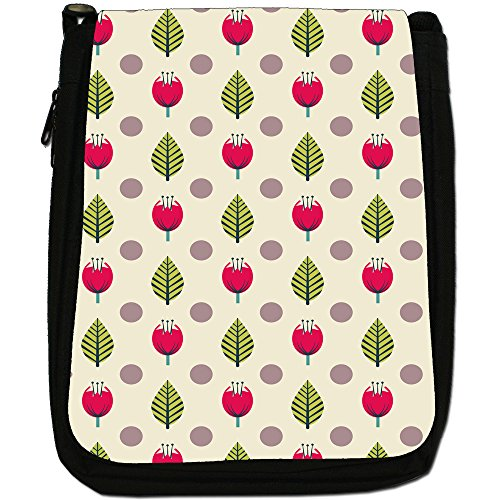 Fancy A Snuggle, Borsa a spalla donna Red & Green Leaves on Cream
