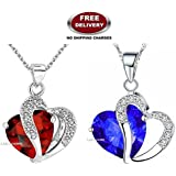 (2 PCS COMBO SET) GALAXINA PENDANTS WITH PREMIUM HEART SHAPED RED & BLUE CRYSTAL STONE - THE MOST LOVABLE, CHERISHED & A LIFE TIME VALENTINE GIFT TO ❤SOMEONE SPECIAL❤ EXCLUSIVELY ONLY FOR PROFOUND & PASSIONATE LOVE. LADY HAWK DES