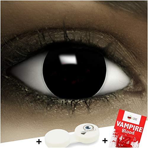 Farbige Kontaktlinsen ohne Stärke Black + Kunstblut Kapseln + Kontaktlinsenbehälter, weich ohne Sehstaerke in schwarz, 1 Paar Linsen (2 Stück)