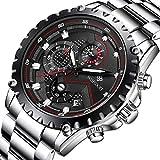 WISHDOIT Herren Uhren Militär Sport Wasserdicht Chronograph Silber Edelstahl Armbanduhr Männer Schwarz Herrenuhr Markenuhren