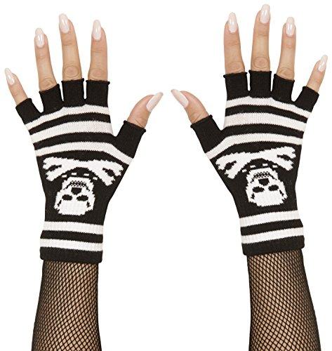 Widmann 02422-Handschuhe ohne Finger mit Knochen und Totenkopf, Einheitsgröße Erwachsene