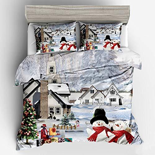 Decdeal 3pcs / set copripiumino di natalizio - 3d natalizio pupazzo di neve babbo,set di biancheria da letto forniture per camera da letto,1 copripiumino+2 federa (pupazzo di neve, taglia 2)