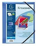 Exacompta 55182E Paquet 5 Chemise à collectionner Kreacover A4 21 x 29, 7 cm en polypropylène avec 3 rabats avec élastique Bleu