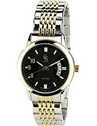 GG LUXE - Montre Homme NOIR OR Quartz Acier Date Water resist 3 ATM Elégant Sport Mode Bracelet ARGENT OR ACIER