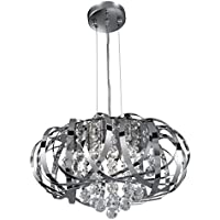 SEARCHLIGHT 6975-5CC - SEARCHLIGHT CHROME 5 LIGHT PENDANT - CLEAR GLASS BALLS
