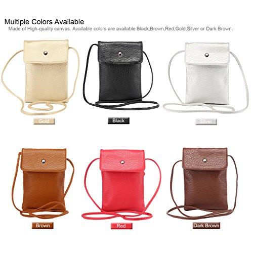 Universal Femmes Mini épaule en cuir Sac PU téléphone mobile porte-monnaie avec bandoulière pour iPhone 7/6/6S,7 Plus/6 Plus/6S Plus et d'autres téléphones 6.3 pouces ci-dessous Or