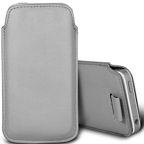 Brun/Brown - Microsoft Lumia 638 Housse deuxième peau et étui de protection en cuir PU de qualité supérieure à cordon avec stylet tactile par Gadget Giant® Gris/Gray