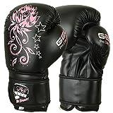 BeSmart Kinder Boxhandschuhe, Junior, Gel, 113,4 g, 170,1 g, 226,8 g, Black with Pink Flower