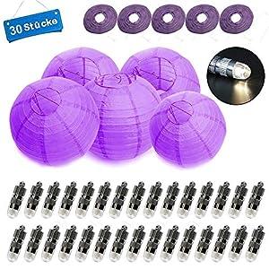 30 Stücke Papier Laterne Lampions rund Lampenschirm + 30er Warmweiß Mini LED-Ballons Lichter Hochtzeit Dekoration…