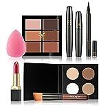 Anself HUAMIANLI 7St Make-up Set Schmink Set Ink. Concealer, Lippenstift, Powder, Eyeliner Stift, Schwamm Puff, Wimperntusche und Pinsel