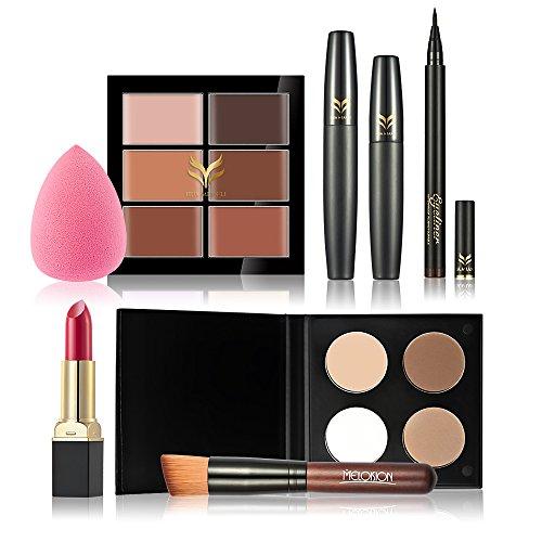 Anself Kit Maquillage Set Cosmetic Correcteur Lipstick Poudre Eyeliner Pen Puff Mascara Foundation Brush Kit