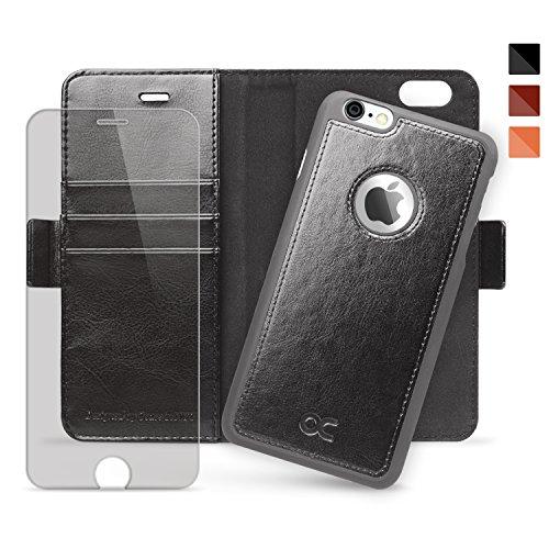 OCASE Cover iPhone 6S Plus [pellicola vetro temperato schermo inclusa][Portafoglio] Custodia di Pelle Case Flip Magnetico Rimovibile per iPhone 6 Plus, Nero. ATTENZIONE: Si prega di assicurarsi che qu Nero