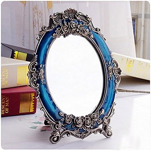 Europea Specchio Wedding Red sposa Red make - up Specchio desktop accessori per la cerimonia nuziale della principessa Dressing Mirror Table Specchio ( colore : Blu )
