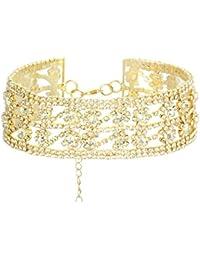 Libing Collar de cadena de clavícula corta de diamantes de imitación de las mujeres